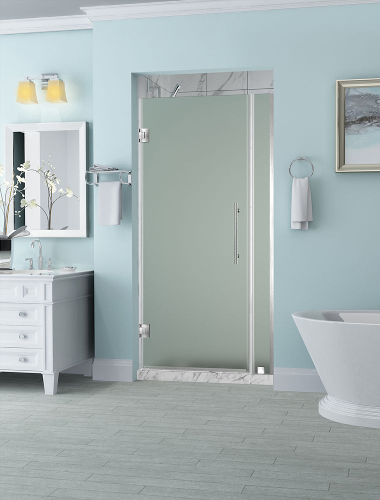 Belmore 29.25 - 30.25 x 72 inch Frameless Hinged Shower Door with Frosted Glass in Stainless Steel