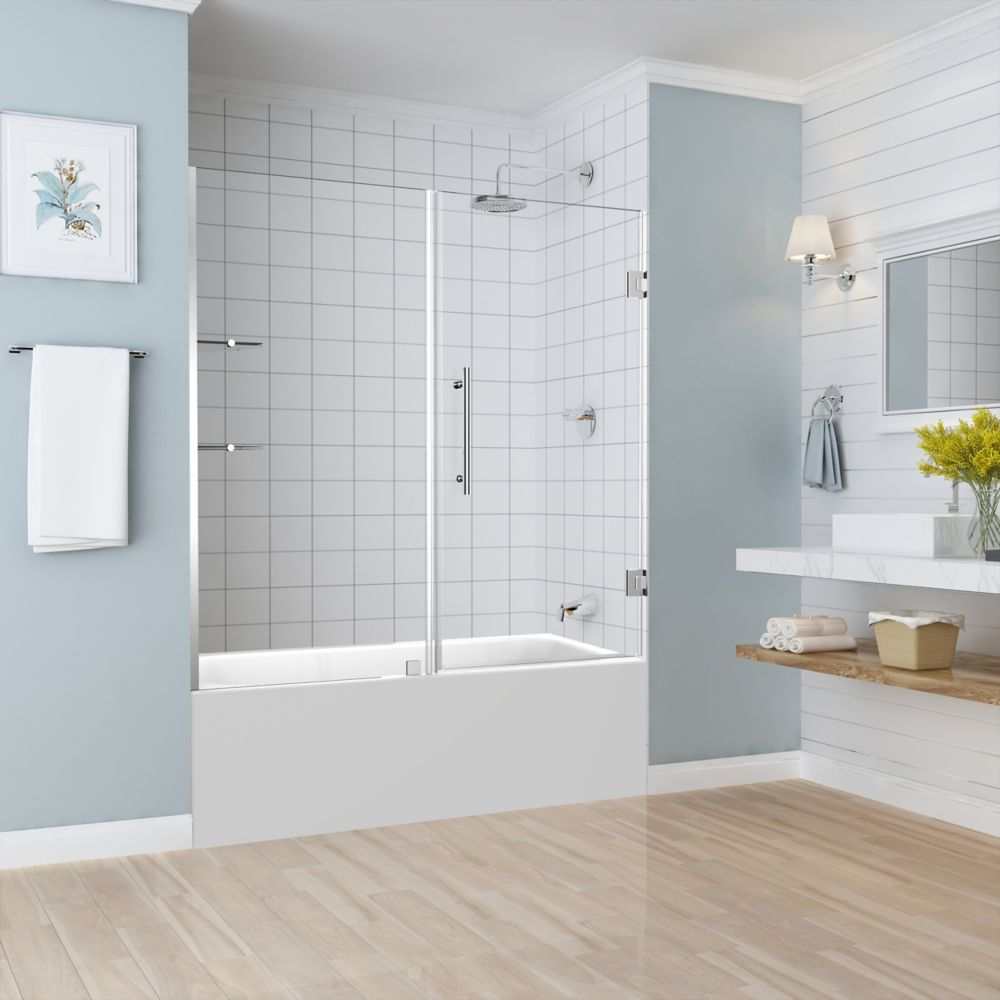 Belmore GS 59.25 inch to 60.25 inch x 60 inch Frameless Hinged Tub Door with Glass Shelves in Chrome