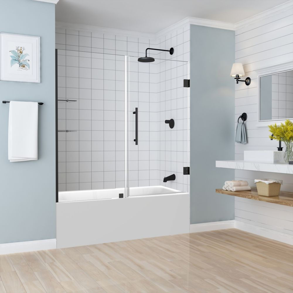 Aston Belmore GS 59.25 - 60.25 x 60 inch Frameless Hinged Tub Door with Glass Shelves in Oil Rubbed Bronze