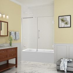 Aston Belmore 59.25 inch to 60.25 inch x 60 inch Frameless Hinged Tub Door in Chrome