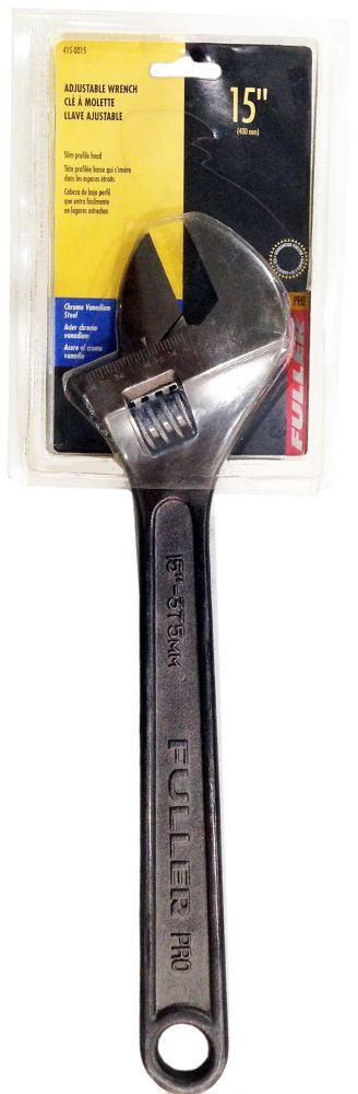 Fuller Pro Series 15-inch Adjustable Wrench with Slim-Profile Head