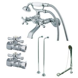 Kingston Brass Combo Set 3-Handle Claw Foot Tub Faucet with Hand Shower in Chrome