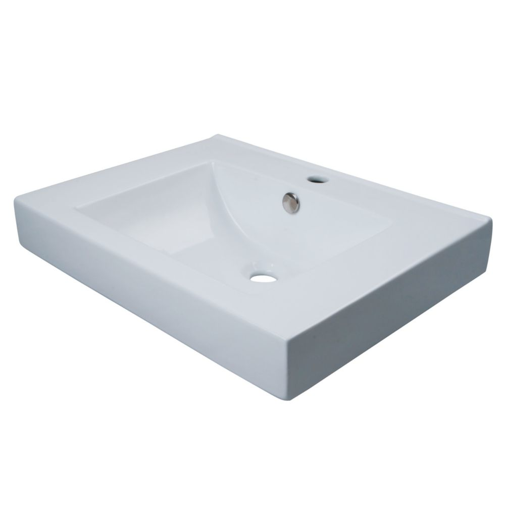 Kingston Brass Countertop Bathroom Sink in White