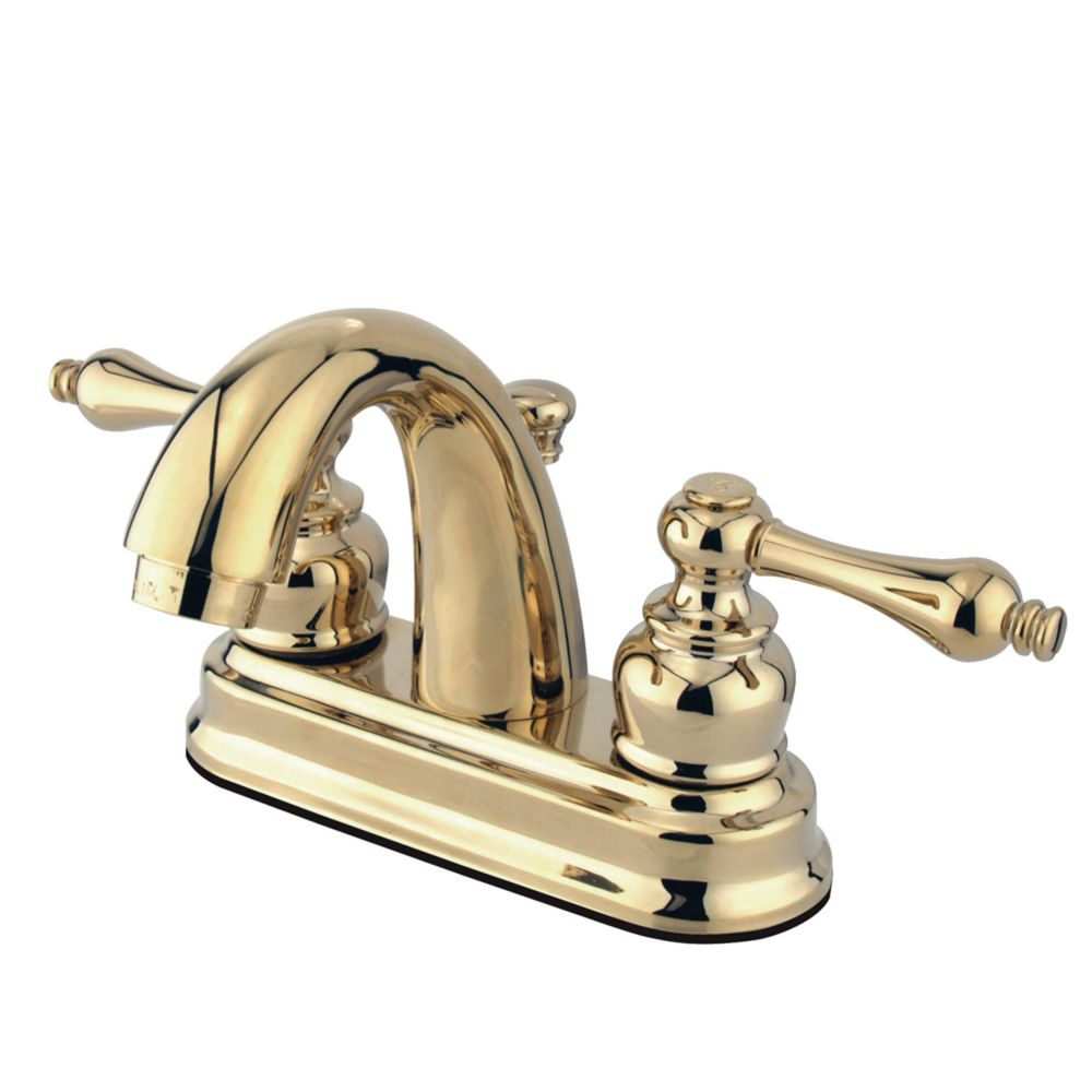 Restoration 4 inch Centerset 2-Handle Mid-Arc Bathroom Faucet in Polished Brass