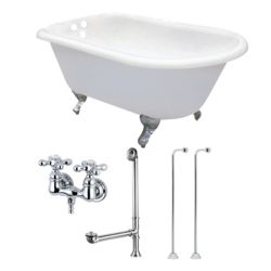 Aqua Eden Petite 4.5 ft. Cast Iron Clawfoot Bathtub in White and Faucet Combo in Chrome
