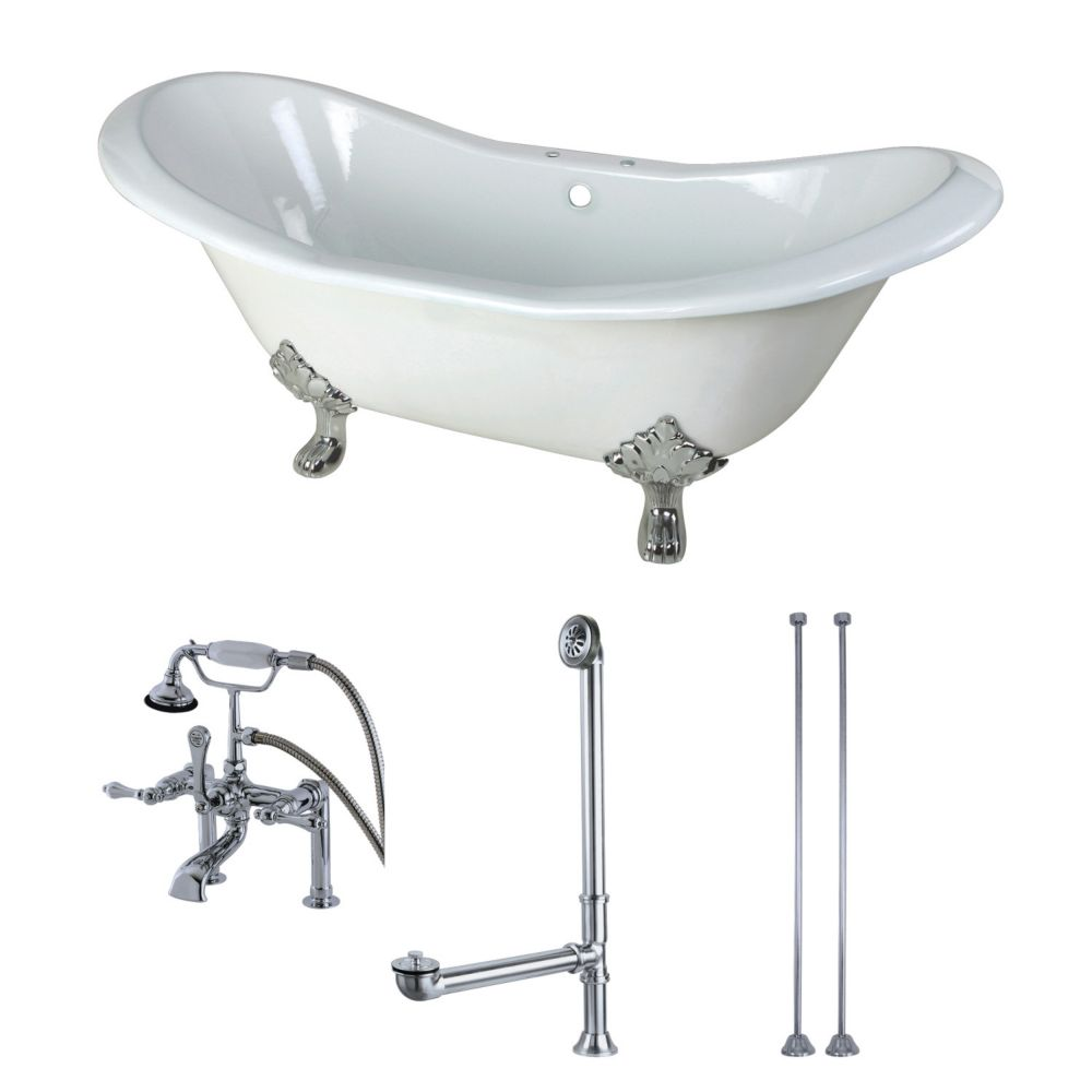 Aqua Eden Double Slipper 6 ft. Cast Iron Clawfoot Bathtub in White and Faucet Combo in Chrome