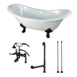 Aqua Eden Double Slipper 6 ft. Cast Iron Clawfoot Bathtub in White and Faucet Combo in Oil Rubbed Bronze