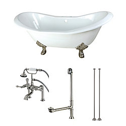 Aqua Eden Double Slipper 6 ft. Cast Iron Clawfoot Bathtub in White and Faucet Combo in Satin Nickel