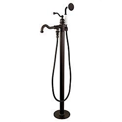 Kingston Brass Robinet autoportant pour baignoire à levier unique avec douche à main de style Anglais, bronze huilé