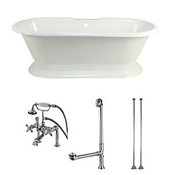 Aqua Eden Pedestal 5.6 ft. Acrylic Flat-bottom Bathtub in White and Faucet Combo in Chrome