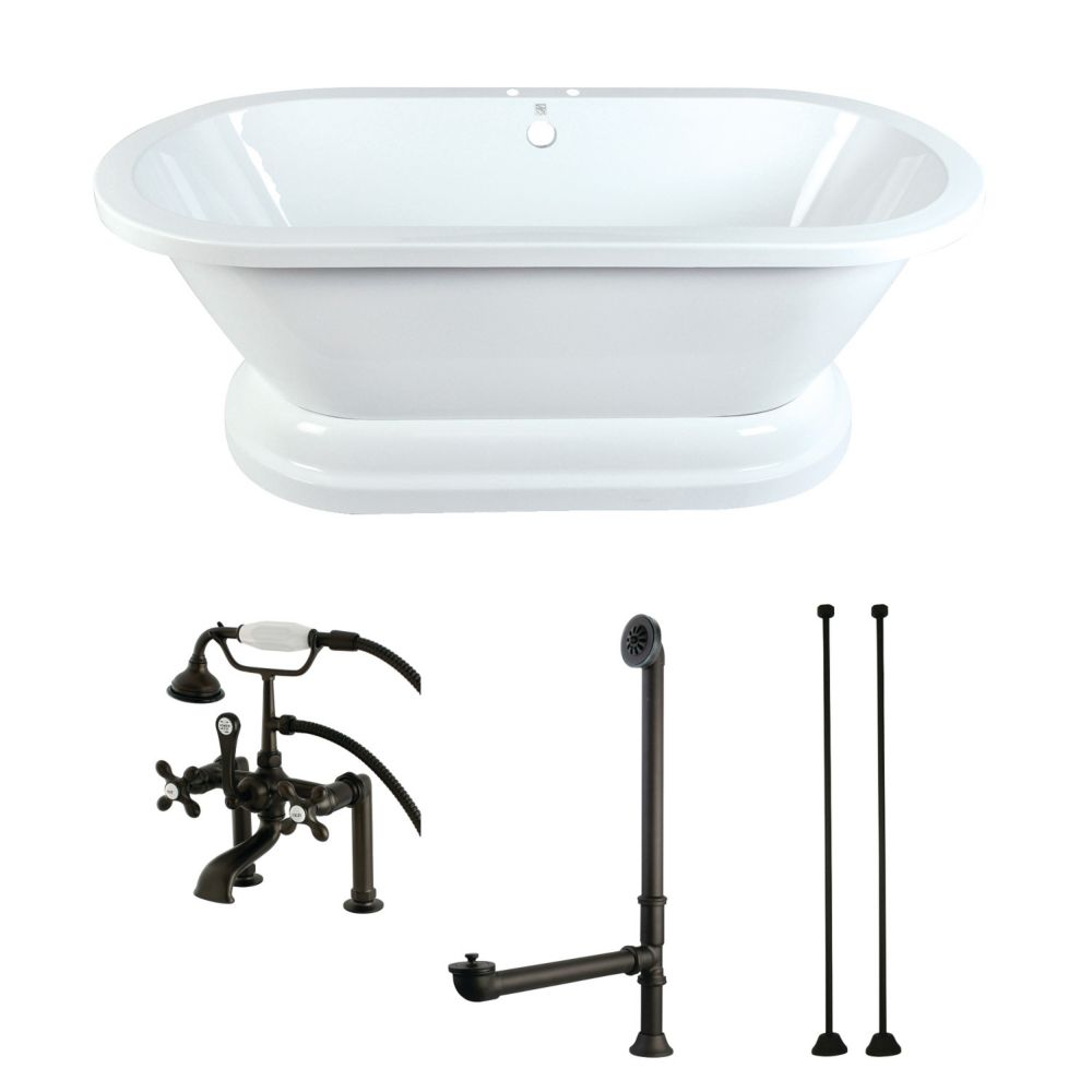 Aqua Eden Pedestal 5.6 ft. Acrylic Flatbottom Bathtub in White and Faucet Combo in Oil Rubbed Bronze