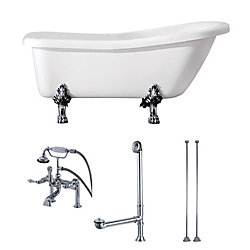 Aqua Eden Slipper 5.6 ft. Acrylic Clawfoot Bathtub in White and Faucet Combo in Chrome