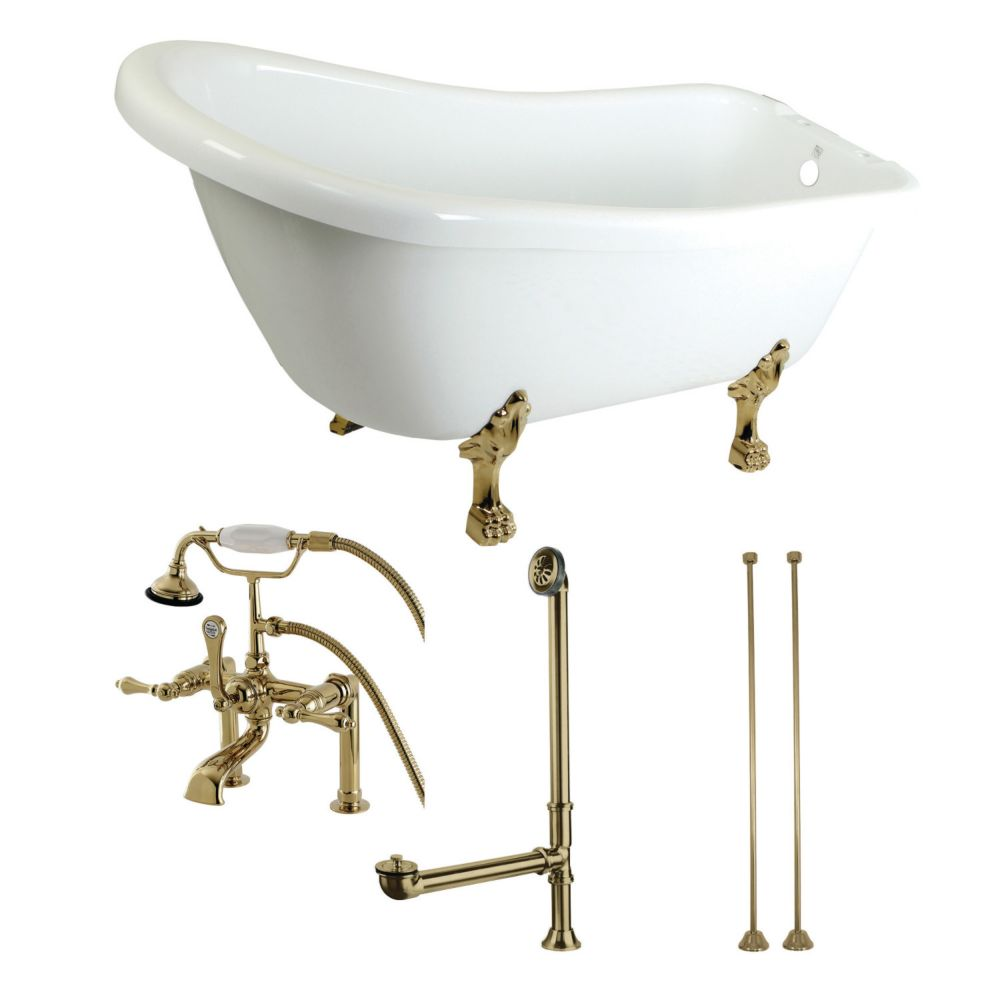 Aqua Eden Slipper 5.6 ft. Acrylic Clawfoot Bathtub in White and Faucet Combo Polished Brass