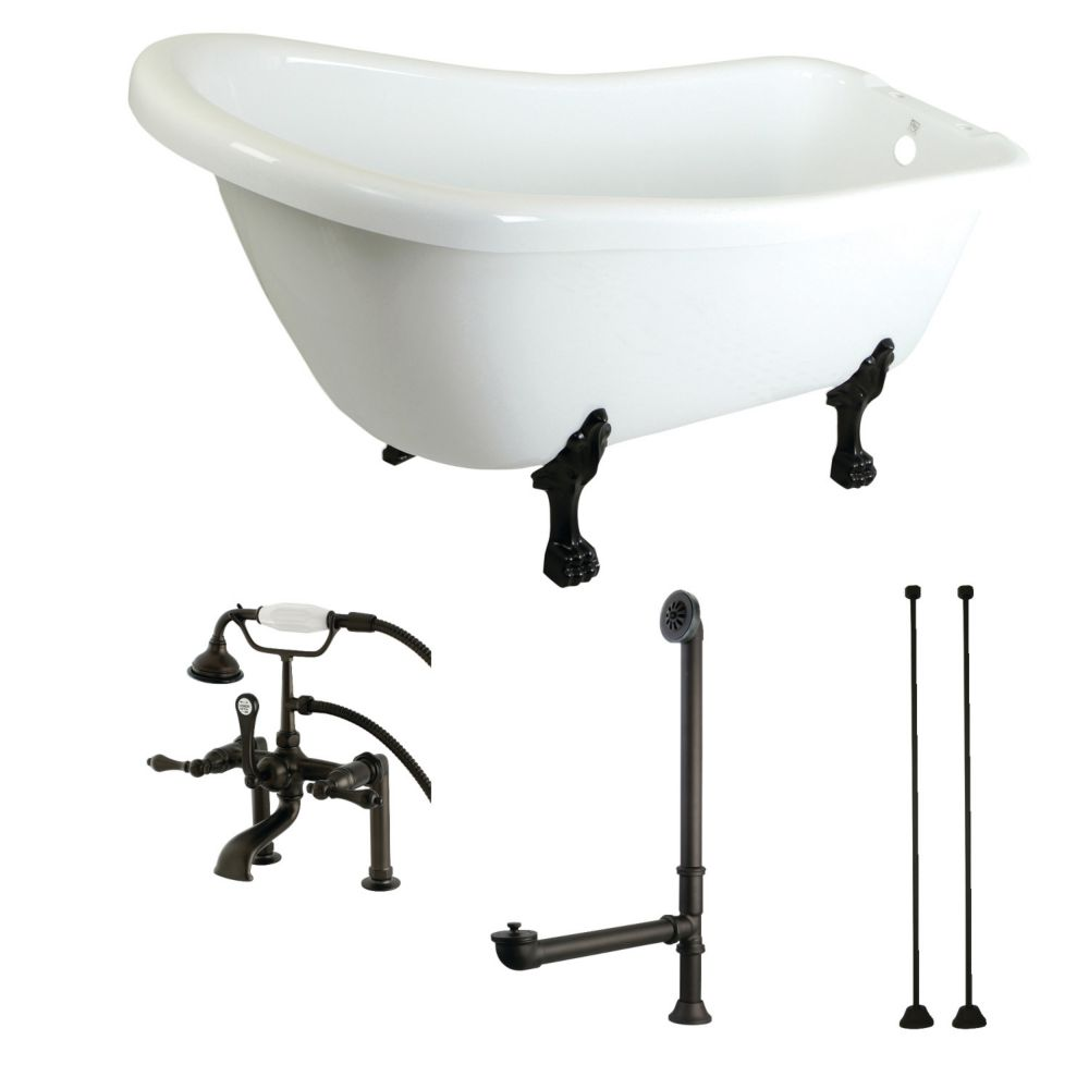 Slipper 5.6 ft. Acrylic Clawfoot Bathtub in White and Faucet Combo in Oil Rubbed Bronze