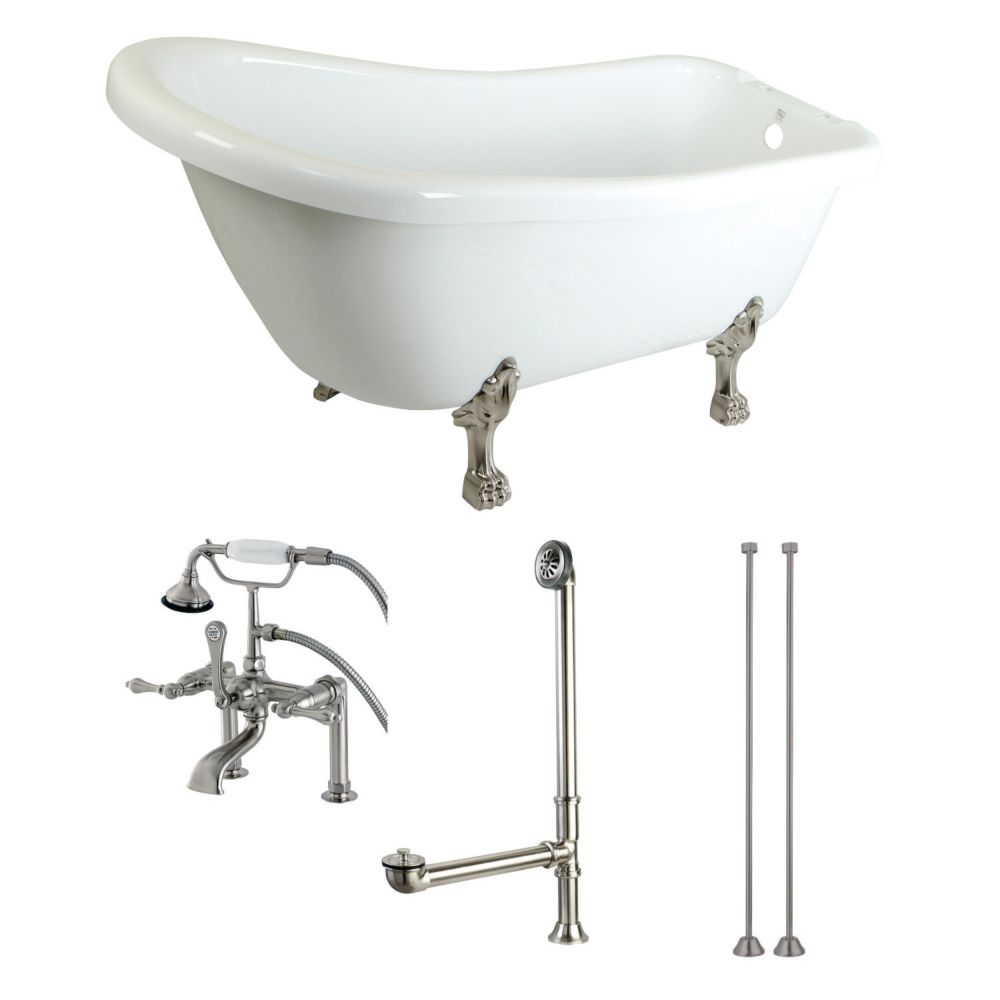 Aqua Eden Slipper 5.6 ft. Acrylic Clawfoot Bathtub in White and Faucet Combo in Satin Nickel