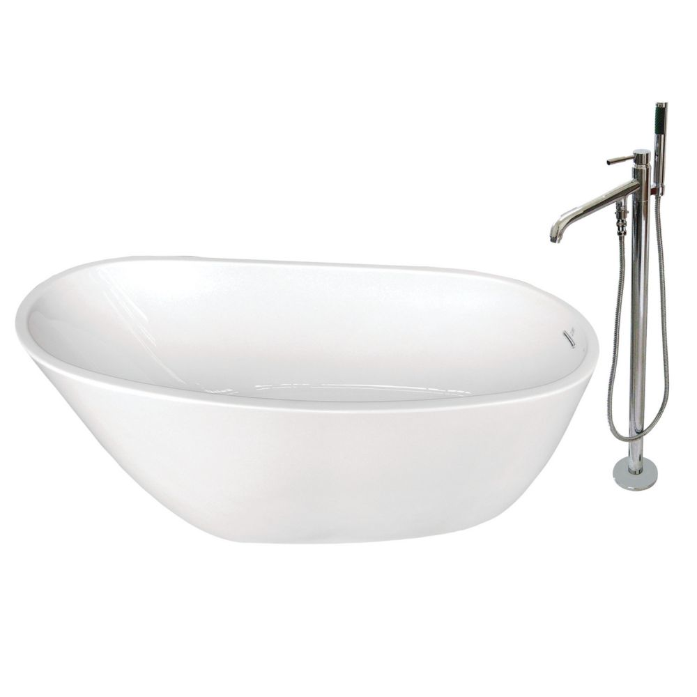 Aqua Eden Fusion 4.9 ft. Acrylic Flat-bottom Bathtub in White and Freestanding Faucet in Chrome