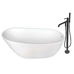 Aqua Eden Fusion 4.9 ft. Acrylic Flat-Bottom Bathtub in White and Freestanding Faucet in Oil Rubbed Bronze