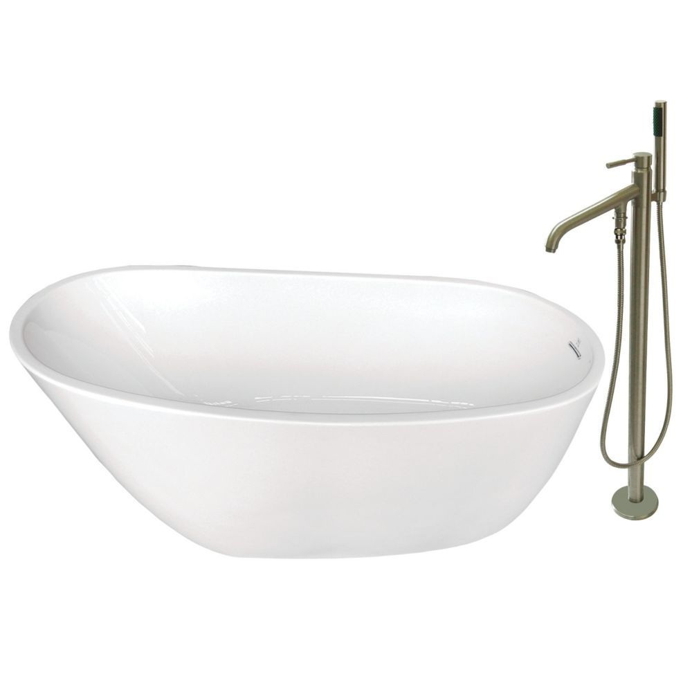 Aqua Eden Fusion 4.9 ft. Acrylic Flat-bottom Bathtub in White and Freestanding Faucet in Satin Nickel