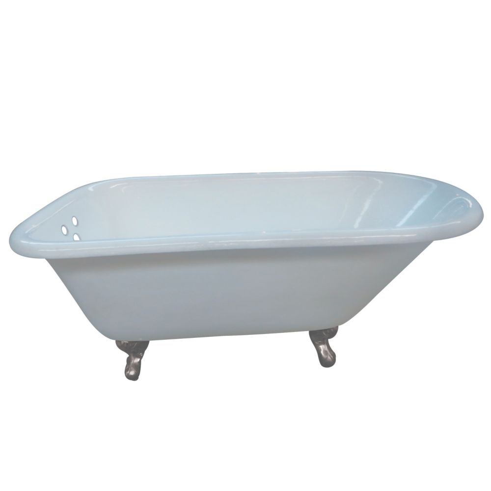Aqua Eden Petite 4.5 ft. Cast Iron Satin Nickel Claw Foot Roll Top Tub with 3-3/8 inch Centers in White