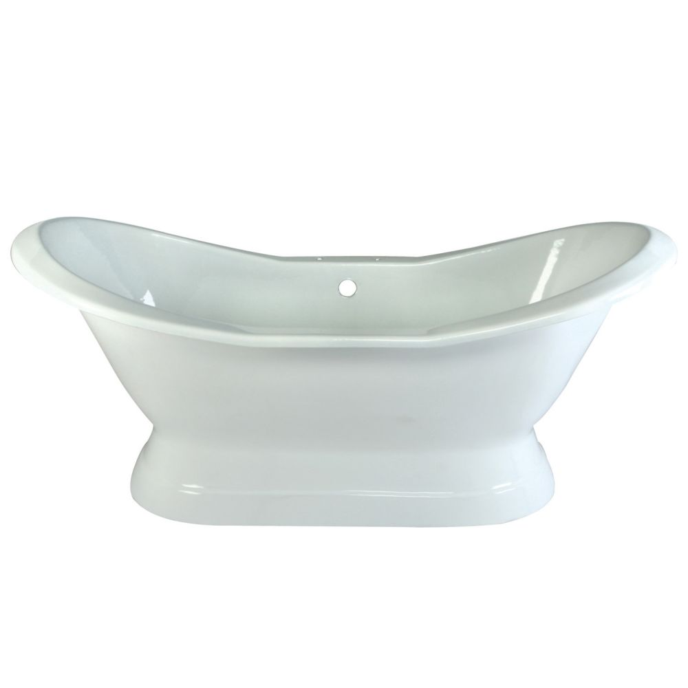 Aqua Eden 6 ft. Cast Iron Claw Foot Double Slipper Tub with 7 inch Deck Holes in White