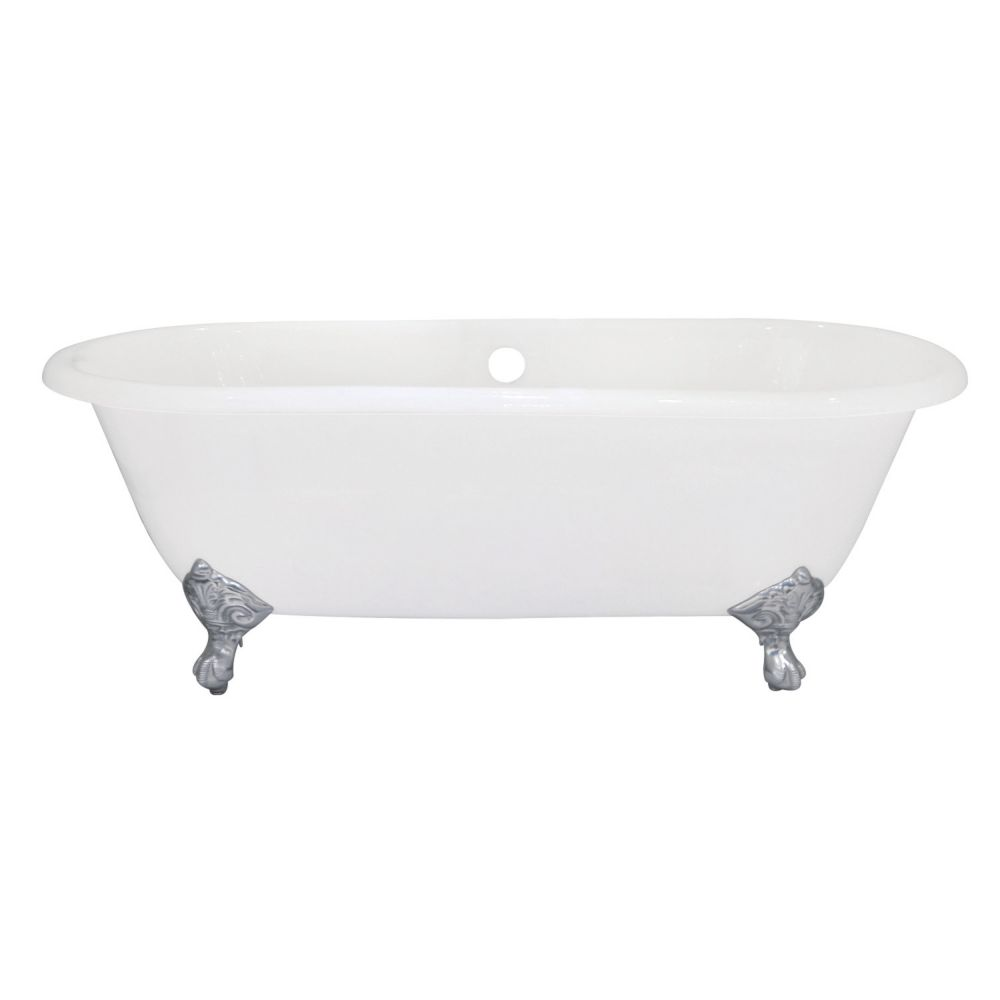Aqua Eden 5.5 ft. Cast Iron Polished Chrome Claw Foot Double Ended Tub in White