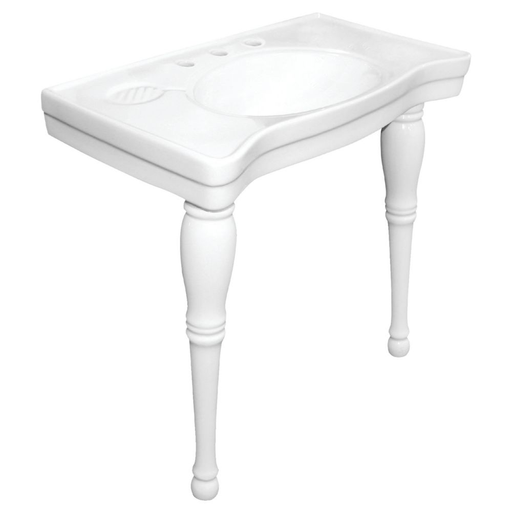 Console Table and Pedestal Legs Combo in White
