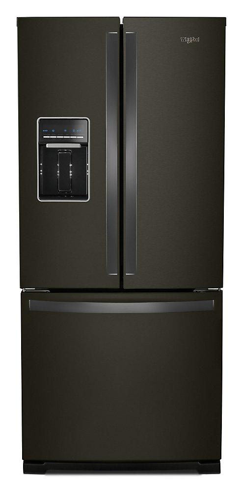 30-inch W 20 cu.ft  French Door Refrigerator in Fingerprint Resistant Black Stainless Steel