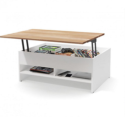 Bestar Small Space 37 Inch Lift Top Storage Coffee Table With Solid Wood Surface White The Home Depot Canada