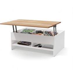 Bestar Small Space 37 inch Lift-Top Storage Coffee Table with Solid Wood Top Surface - White