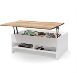 Bestar Small Space Table à café de rangement avec surface mobile en bois massif 37 po - Blanc