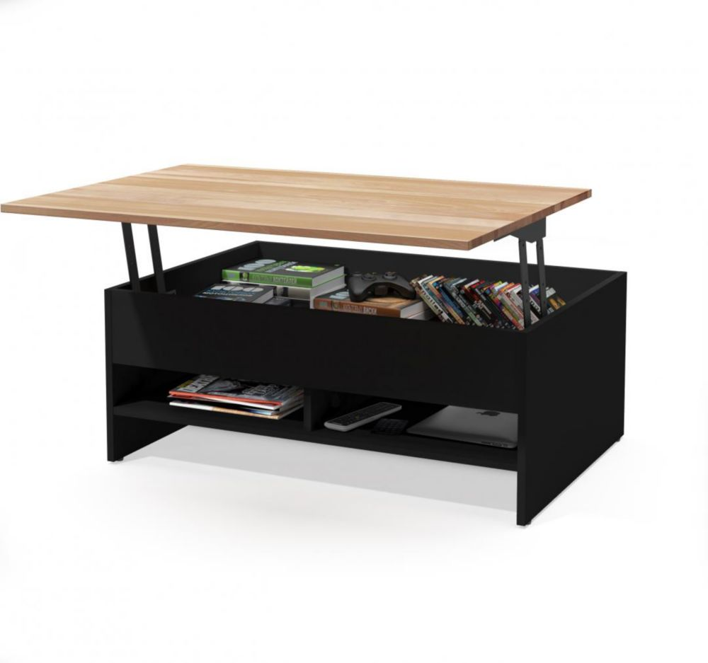 Bestar Small Space 37 inch Lift-Top Storage Coffee Table with Solid Wood Top Surface - Black