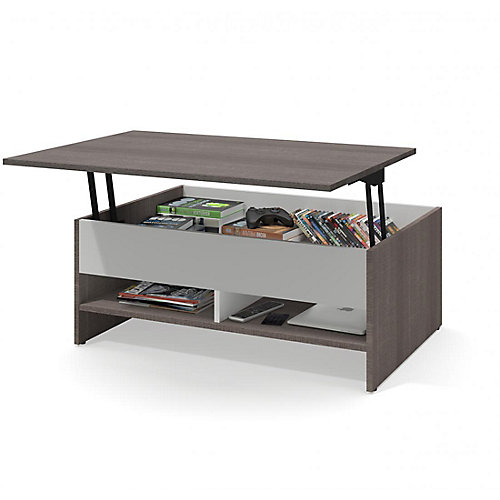 Small Space 37-inch Lift-Top Storage Coffee Table - Bark Gray & White