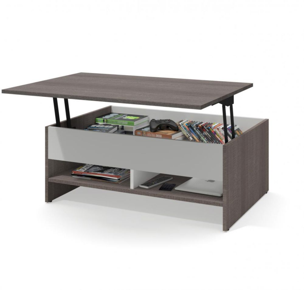 Bestar Small Space 37-inch Lift-Top Storage Coffee Table - Bark Gray & White