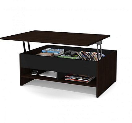 Bestar Small Space 37 Inch Lift Top Storage Coffee Table Dark Chocolate Black The Home Depot Canada