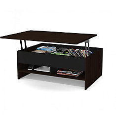 fa532f00f634e Small Space 37-inch Lift-Top Storage Coffee Table - Dark Chocolate   Black