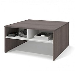 Bestar Small E 29 5 Inch Storage Coffee Table Bark Gray White The Home Depot Canada