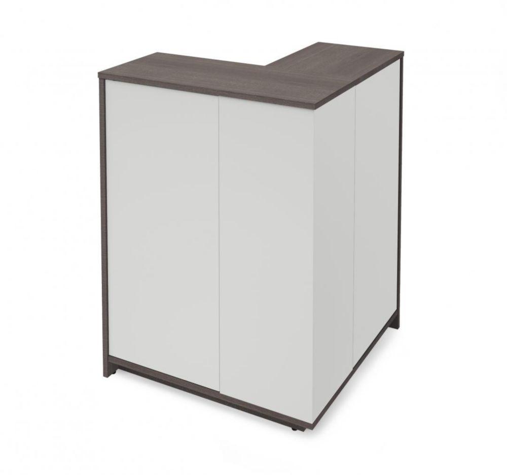 Small Space Outer Corner Storage Unit - Bark Gray & White