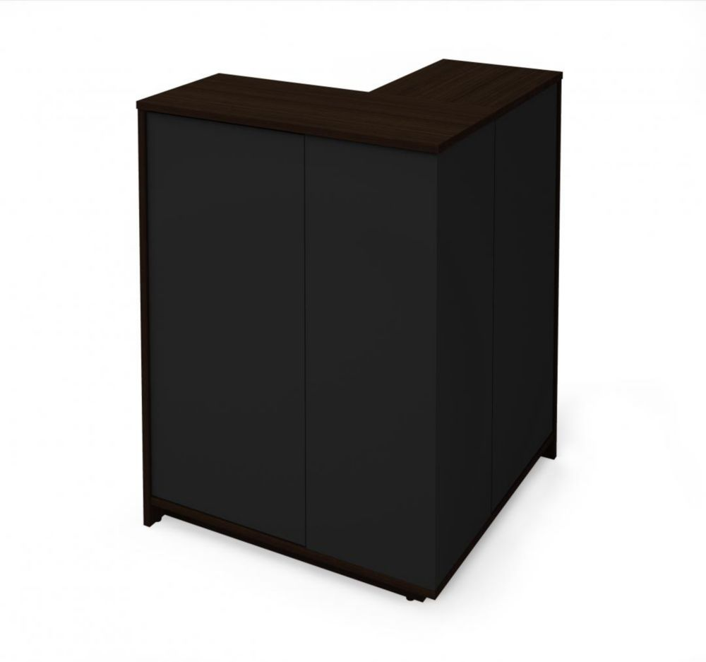 Bestar Small Space Outer Corner Storage Unit - Dark Chocolate & Black