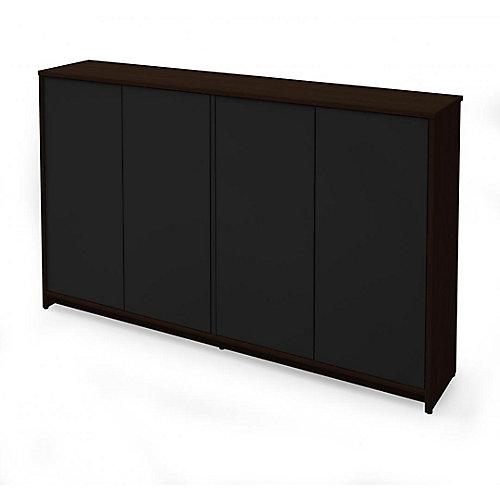 Small Space 60 inch Storage Unit - Dark Chocolate & Black