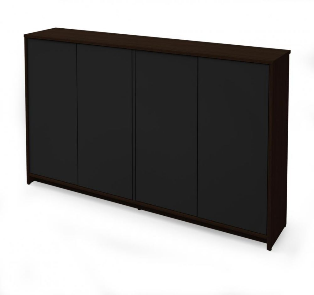 Bestar Small Space 60 inch Storage Unit - Dark Chocolate & Black