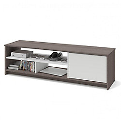 Bestar Small Space 53.5-inch TV Stand - Bark Gray & White