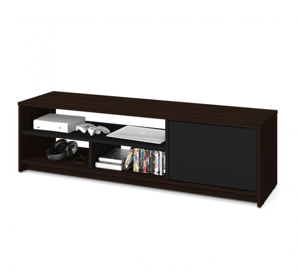 Bestar Small Space 53.5-inch TV Stand - Dark Chocolate & Black