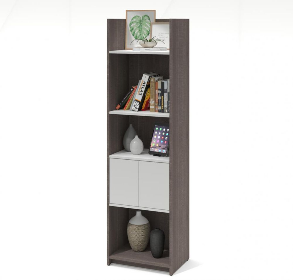 Small Space 20-inch Storage Tower - Bark Gray & White