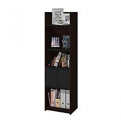 Bestar Small Space 20-inch Storage Tower - Dark Chocolate & Black