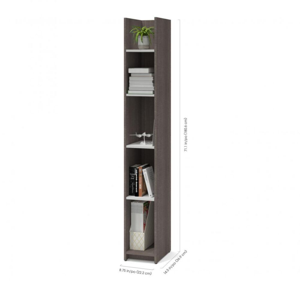 Small Space 10-inch Storage Tower - Bark Gray & White
