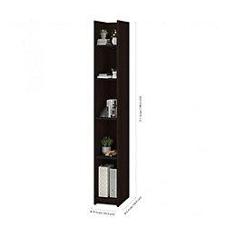 Bestar Small Space 10-inch Storage Tower - Dark Chocolate & Black