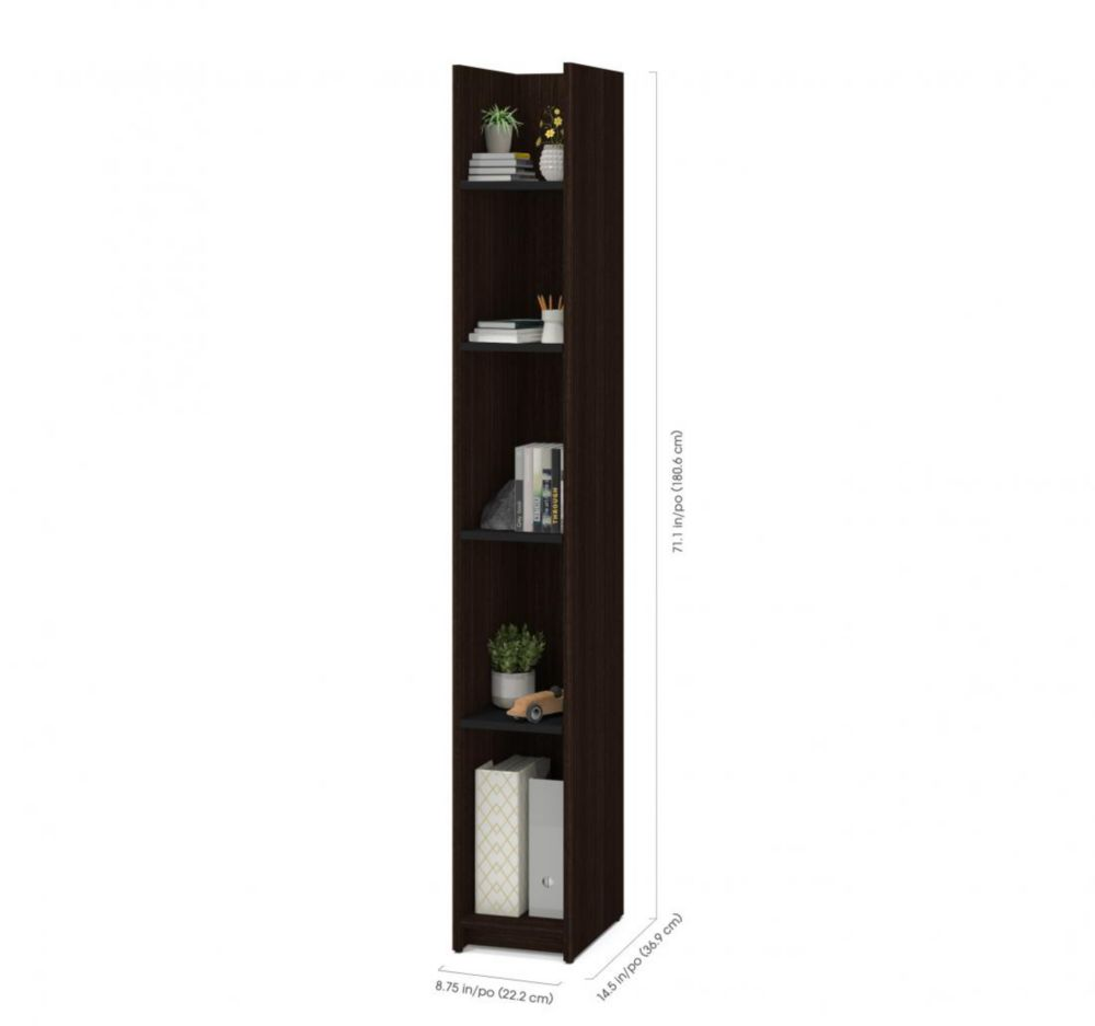 Small Space 10-inch Storage Tower - Dark Chocolate & Black