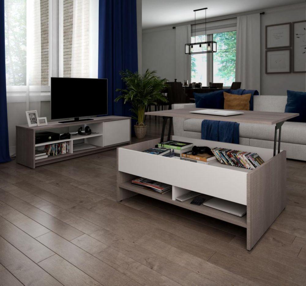 Bestar Small Space 2-Piece Lift-Top Storage Coffee Table and TV Stand Set - Bark Gray & White