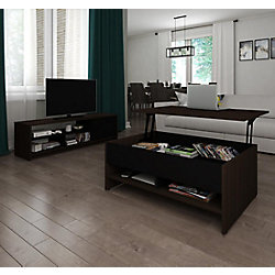 Bestar Small Space 2-Piece Lift-Top Storage Coffee Table and TV Stand Set - Dark Chocolate & Black
