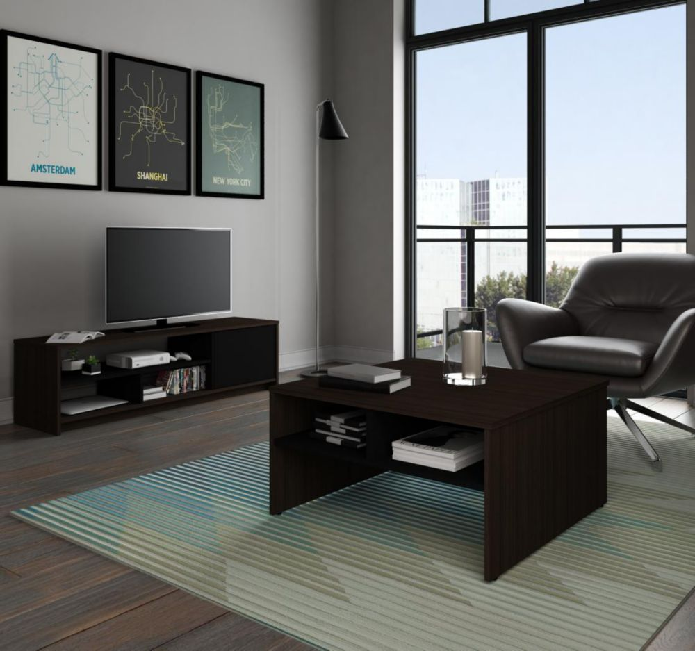 Bestar Small Space 2-Piece Storage Coffee Table and TV Stand Set - Dark Chocolate & Black